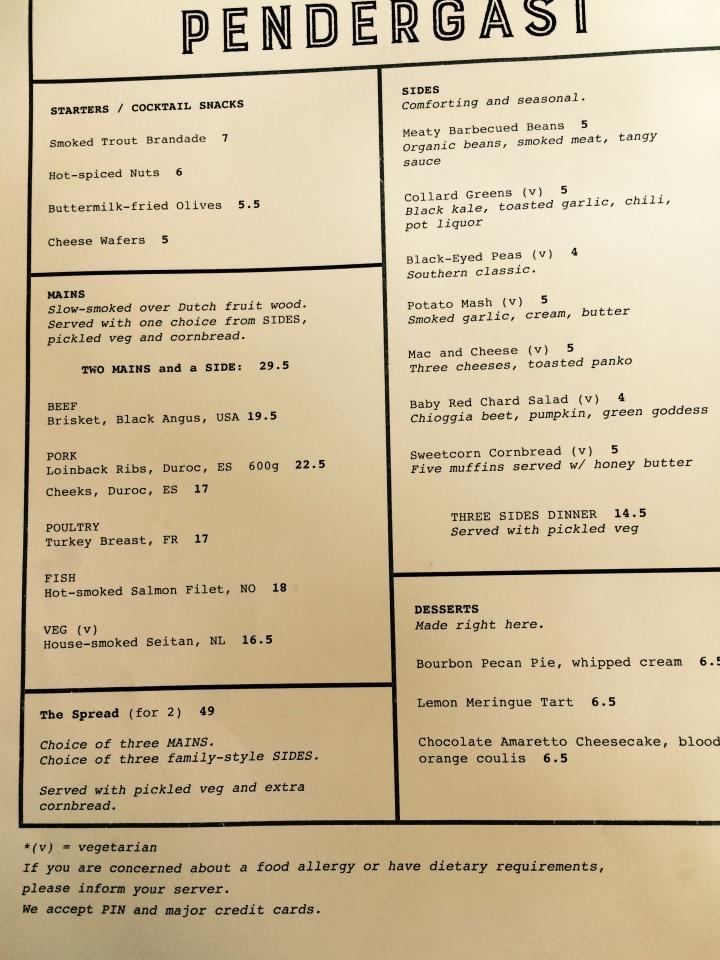 pender menu