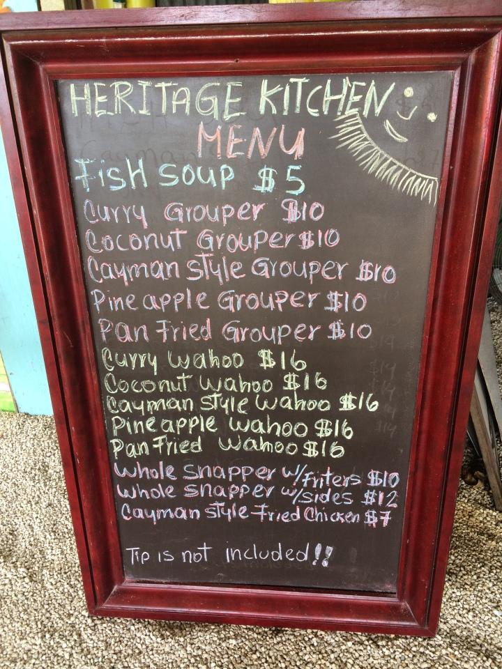 heritage menu
