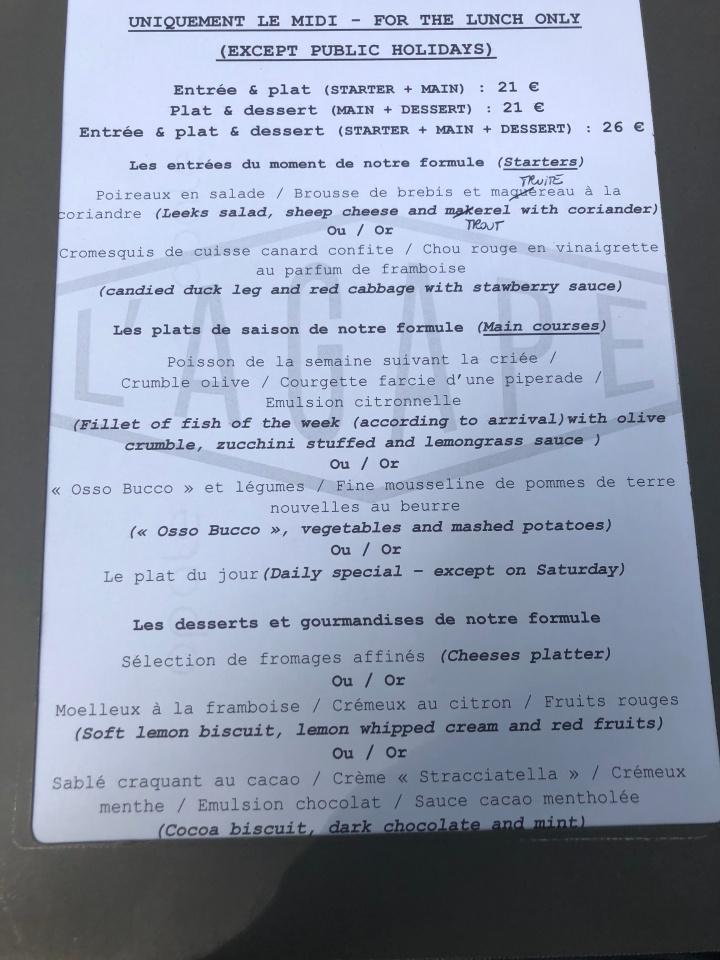 lagape menu